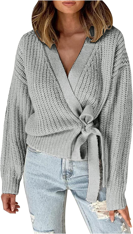 JMETRIE Women Cardigan Sweaters Winter Wool Coat Loose Thin Knitted Short Coat with Belt