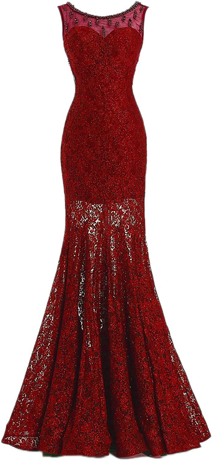 Liaoye Women's Lace Mermaid Prom Dresses Beaded Sheer Neck Sequins Evening Gowns