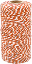 jijAcraft 100M Cotton String Twine for Crafts,Orange and White String for Wrapping Gift Package Decoration