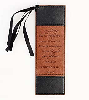 Strong & Courageous in Black and Tan LuxLeather Pagemarker/Bookmark - Joshua 1:9