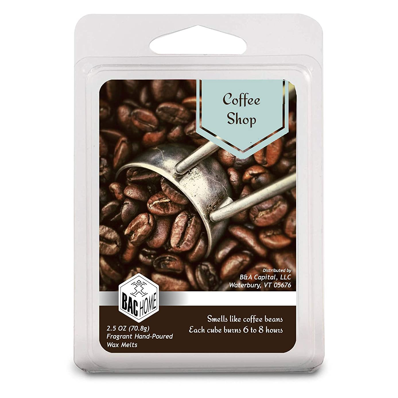 BAC Home Coffee Shop Soy Blend Scented Wax Cube Melts, 2.5 oz, [6 Cubes]