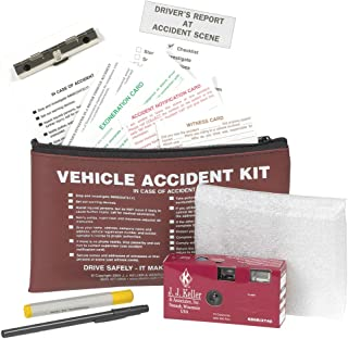 Vehicle Accident Kit with 35mm Film Disposable Camera in a Burgundy Vinyl Pouch with Zipper Closure - J. J. Keller & Associates - Helps Drivers Collect, Organize & Report Vehicle Accident Information