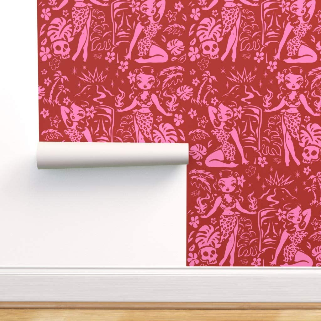 Max 80% OFF Spoonflower Peel and Stick Removable Wallpaper Vintage Complete Free Shipping T Hawaii