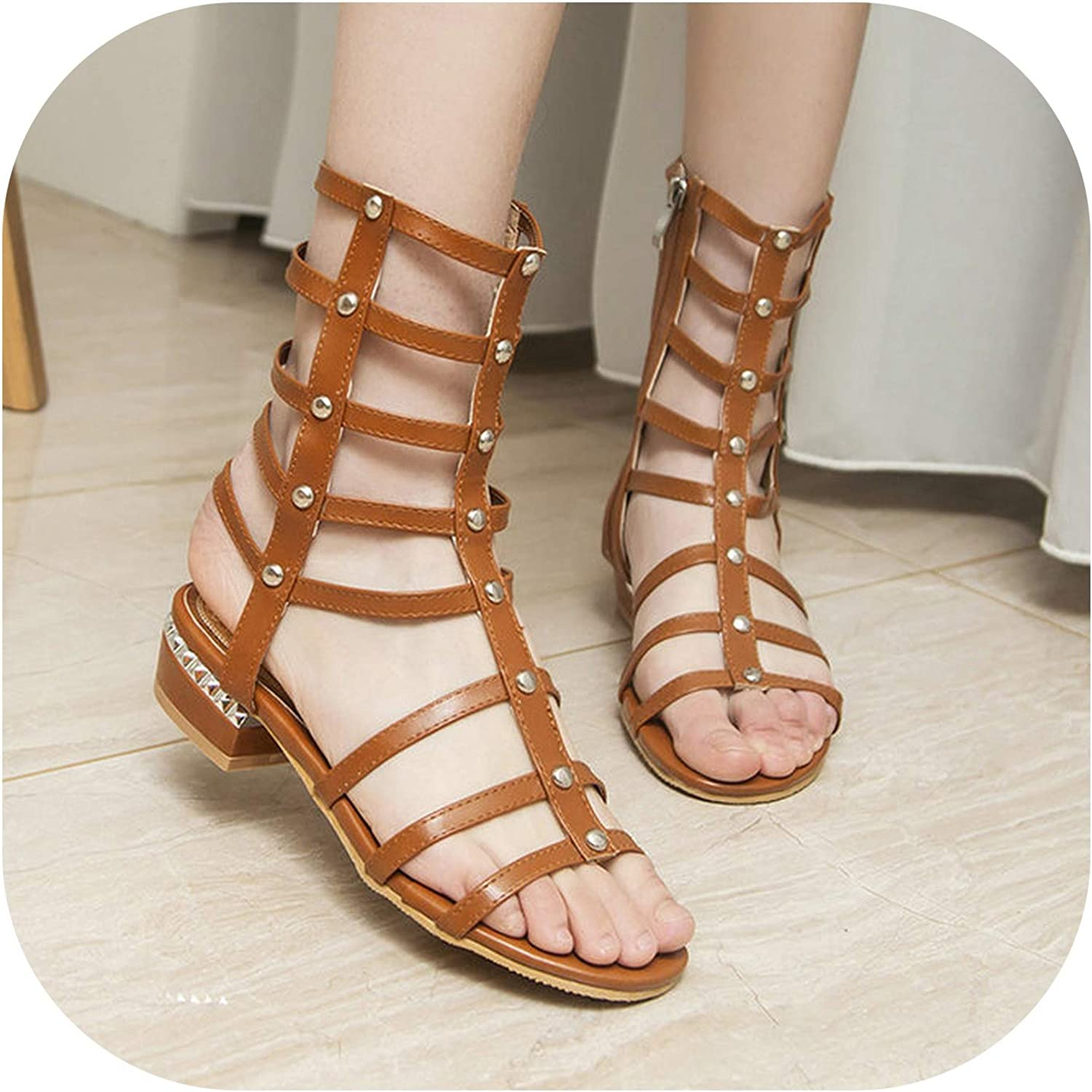 2019 Summer Gladiator Sandals Female Open Toe Low Heels Zipper Casual shoes Women White Black Brown Size 34-43,Brown,5.5