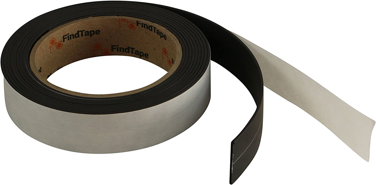 : 1 in // A-Side only Black FindTape MGMP Matched Pole Magnetic Tape Adhesive-Backed, 1//16 Thickness x 10 ft.