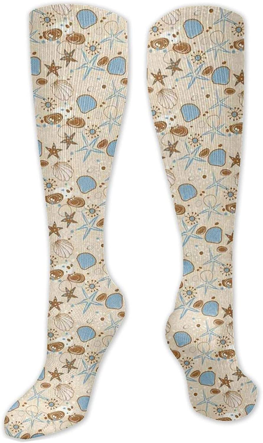 OFFicial site Compression High Socks Abstract Starfishes Spiral Doo Lines With 100% quality warranty