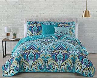 HNU 5 Pieces Bohemian Quilt Set Queen, Eclectic Modern Contemporary Damask Paisley Abstract Quilted Soft Cozy Comfy Green Blue Teal Seafoam Bedding Reversible Floral Embroidered Microfiber