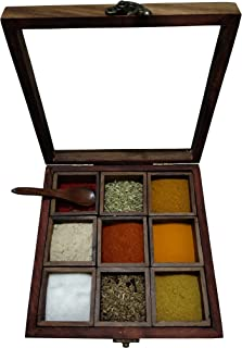RRTC Wooden Spice Box Masala Container Holder Kitchen Dabba Set Jar With Wood Spoon