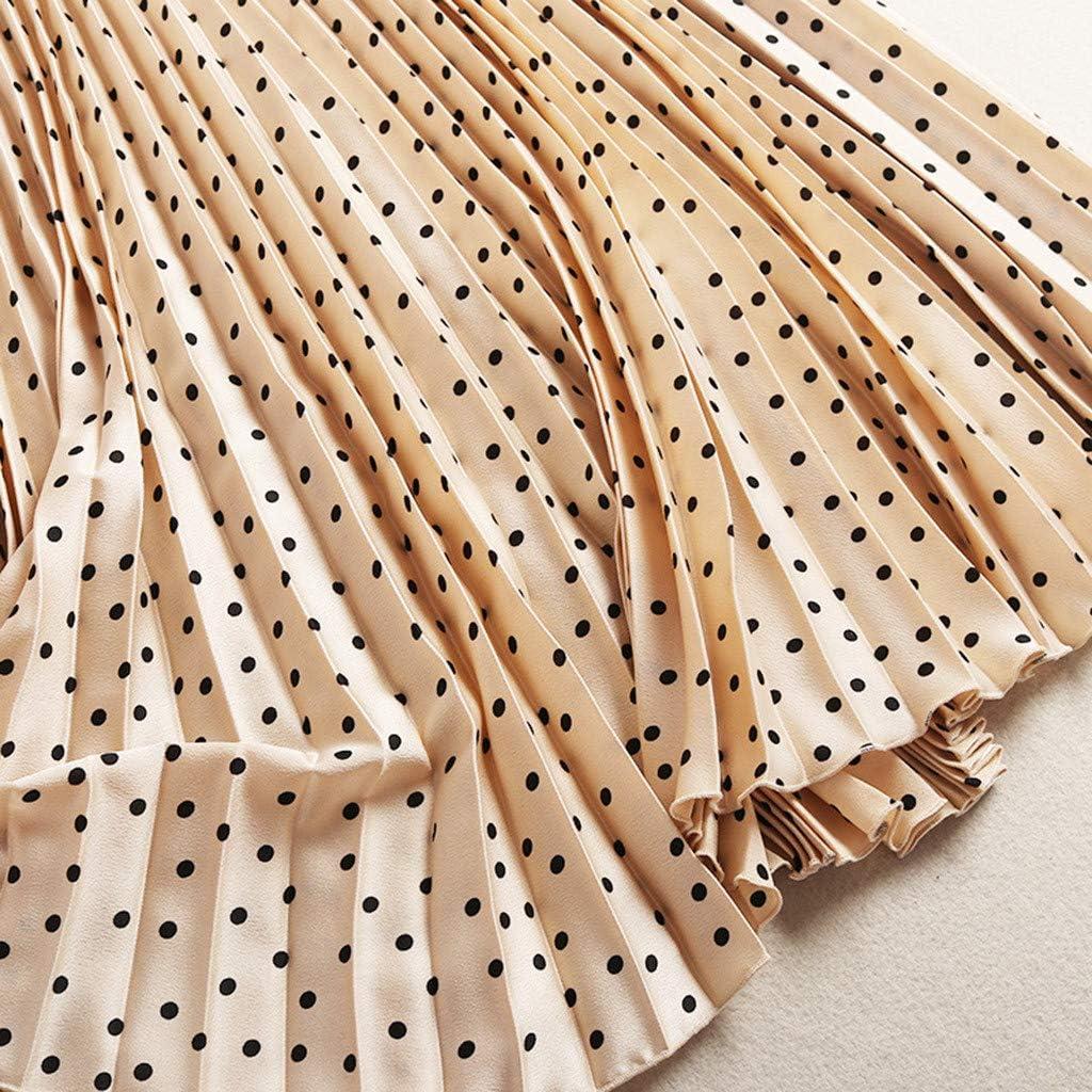 Women Long Elastic Waist Pleated Beach Boho Vintage Summer Print Maxi Skirts