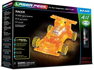 Laser Pegs Racer 4-in-1 Building Set Building Kit; The First Lighted Construction Toy to Ignite Your Child's Creativity; It's Your Imagination, Light It Up