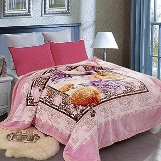 """JML Fleece Blanket Queen(79""""x93"""", 8 lbs) Heavy Korean Mink Blanket Korean Style Fleece Blanket - Plush Fluffy Cozy Soft Warm Double Sided Printed Raschel Bed Blankets for Winter Wedding"""
