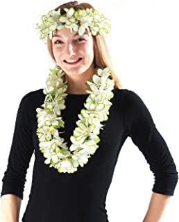Hawaii Luau Party Artificial Fabric Plumeria Lei and Head Band Haku Set