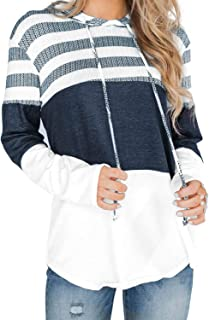 Actloe 2020 Women Long Sleeve Striped Color Block Casual Hoodies Loose Patchwork Pullover Sweatshirt Knit Tops
