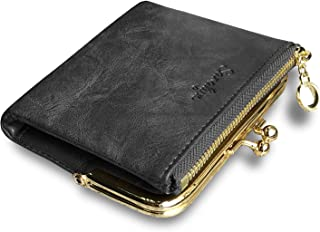 Womens Wallet Small Bifold Rfid Ladies Mini Vintage Coin Purse With Zipper and Kiss Lock
