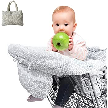 Toddlers Universal Size with Free Carry Bag White Elephant Infants Kids Portable 2-in-1 Shopping Cart /& High Chair Covers for Babies
