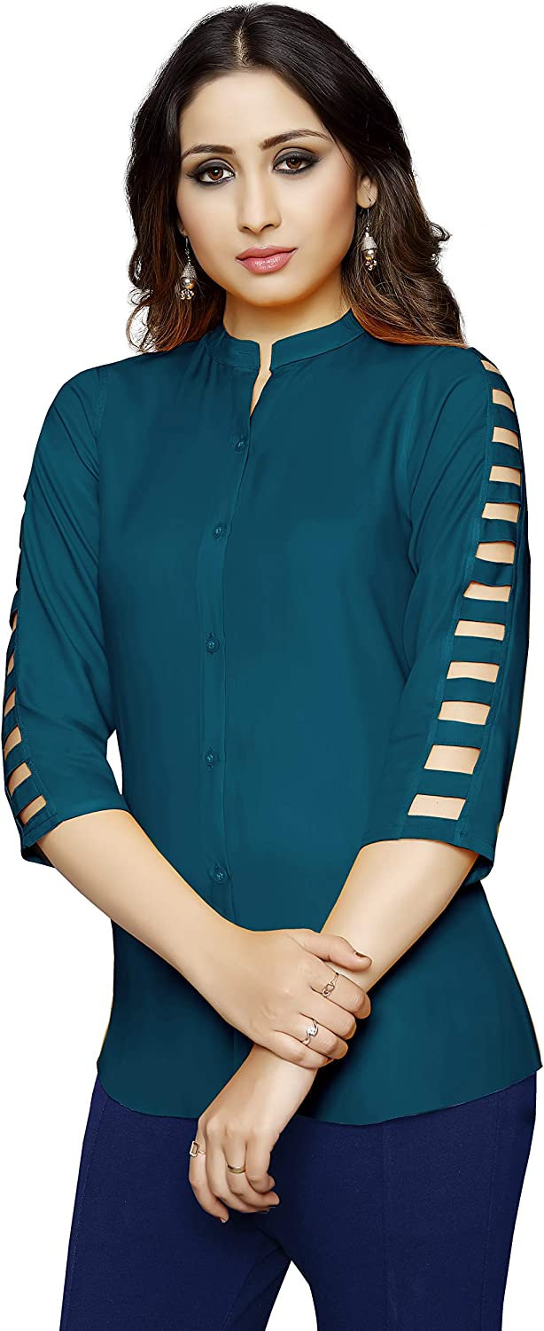 Safety and trust Venisa Minneapolis Mall Women's Casual Rayon 3 4 S Blouse Tunic Sleeve Indian Top