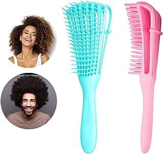 Detangling Brush, Detangler Hair Brushes for Natural Black Hair, 2 Pcs Detangle Comb for Thick Curly Kinky/Coily, Wet/Dry 3/4 abcd African American Hair for Women Kids Men (Pink & Blue)