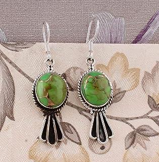 Pendientes ovalados de turquesa verde, pendientes colgantes, pendientes de gota, pendientes de plata de ley para Navidad Sterling Silver Drop Earrings