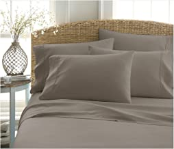 BECKY CAMERON ienjoy Home 6 Piece Double Brushed Microfiber Bed Sheet Set, King, Taupe