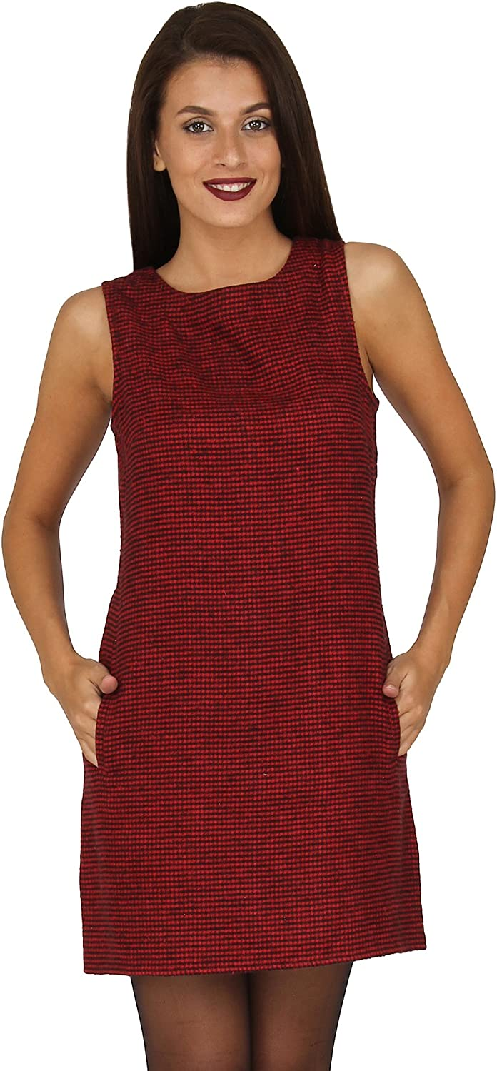 20Dresses Womens Houndstooth Twill Shift Short Dress with Pockets