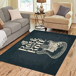 Semtomn Area Rug 5' X 7' Electric Guitar Rock and Roll Lettering Vintage Engraving Home Decor Collection Floor Rugs Carpet for Living Room Bedroom Dining Room