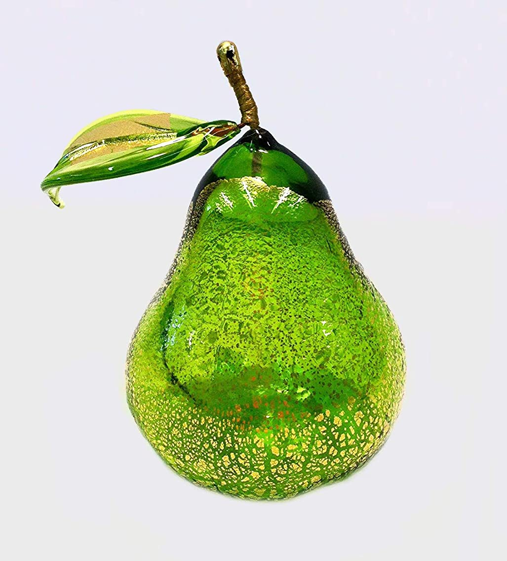 Murano Glass Blown Pear, Green