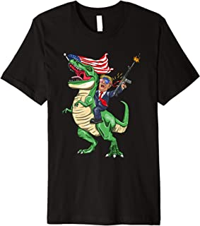 Machine Gun Trump On T Rex Dinosaur With American Flag Premium T-Shirt