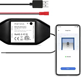 meross Smart Garage Door Opener Remote, APP Control, Compatible with Alexa, Google Assistant and SmartThings, Multiple Notification Modes, No Hub Needed Black New Version