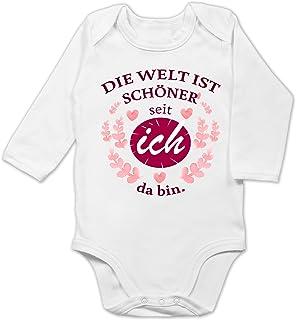 Shirtracer - Strampler Motive - Die Welt ist schöner seit ich da Bin. - Baby Body Langarm