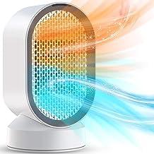 Portátil Calefactor Eléctrico, Mini Calentador de Ventilador, Personal Ventilador Calefactor Eléctrico PTC Cerámica, Oscilación Automática Calefactor Aire Frio y Caliente para Hogar Oficina (600W)