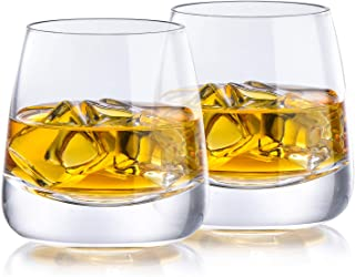 Whiskey Glasses Yurnero Cocktail Glasses set of 2 Thick Weighted Bottom Rocks Glasses Hand Blown Crystal for Old Fashioned...