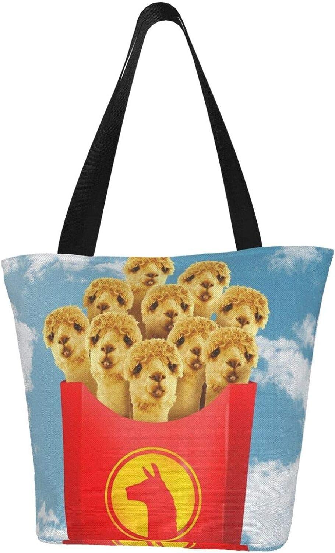 Llama Funny Fries Cute Themed Printed Women Canvas Handbag Zipper Shoulder Bag Work Booksbag Tote Purse Leisure Hobo Bag For Shopping