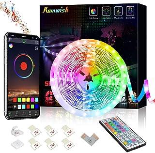 Romwish LED Strip Lights 16.4ft/5M, Bluetooth 5050 RGB Color Changing LED Lights, Music Sync Dance, 44 Keys Remote Control...