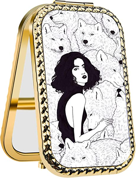 IMLONE Rectangle Purple Alpha Wolf Compact Purse Mirror With 2X Magnification Portable Folding Makeup Mirror Great Choice And Best Gift For You And Your Friend