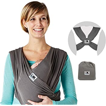 Baby K'tan Breeze Baby Wrap Carrier, Infant and Child Sling - Simple Pre-Wrapped Holder for Babywearing-No Tying or Rings-Carry Newborn up to 35 lbs, Charcoal, X-Large (W Dress 22-24 / M Jacket 47-52)