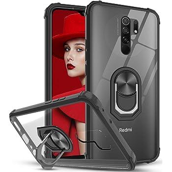 LeYi Funda Xiaomi Redmi 9, Transparente Case con 360 Grados iman Soporte, PC y Silicona Bumper Carcasa Antigolpes Armor Cover para Movil Xiaomi Redmi 9,Clear Negro