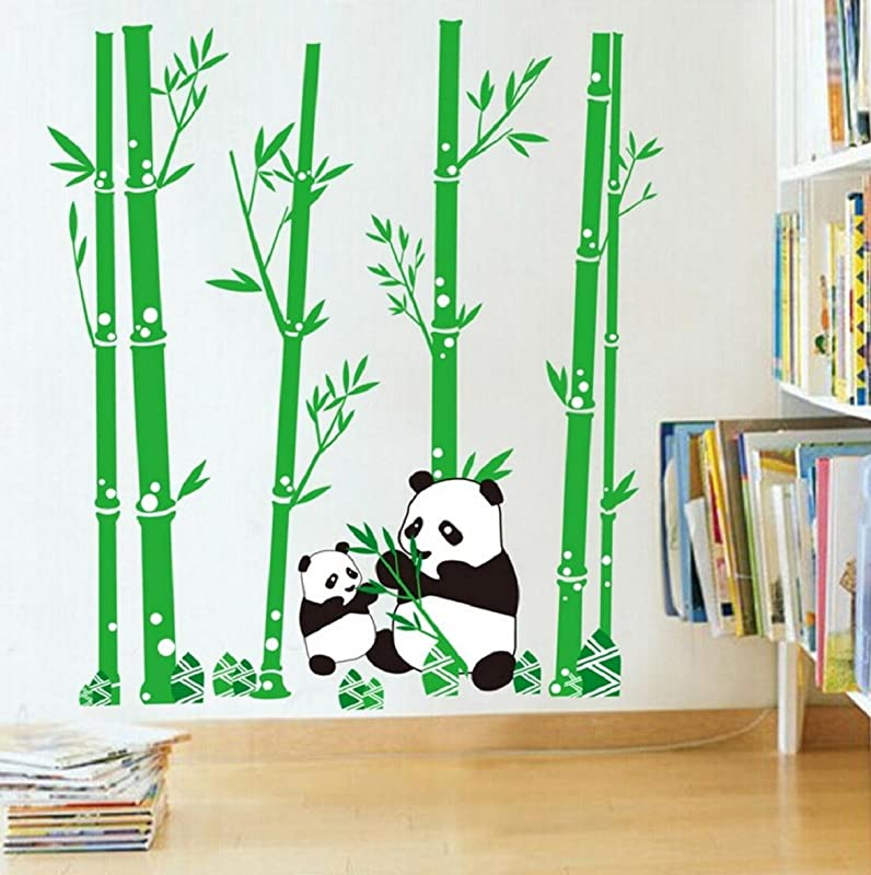 PVC Cute Cartoon Panda Bamboos Decor Wall Stickers Art Decal Removable For Children S Room Decor Bedroom Sitting Room Sofa TV Background By Kamay S
