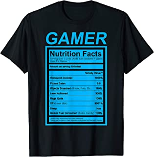 Gamer Nutrition Facts Blue Label Funny Graphic T-Shirt