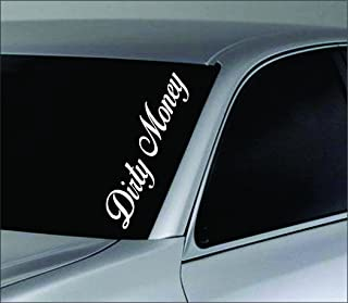 Dabbledown Decals Large Dirty Money Car Truck Window Windshield Lettering Decal Sticker Decals Stickers JDM Drift Dub Vw Lowered Jdm Fresh Detailed Stance Fitment 4x4