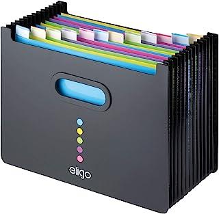 comprar comparacion Eligo - Archivador tipo acordeón (13 compartimentos, DIN A4, formato horizontal), color negro