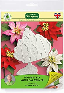 Katy Sue Designs Poinsettia Silicone Sugarpaste Icing Mold and Veiner, Nicholas Lodge Flower Pro for Cake Decorating, Sugarcraft and Candies, Food Safe