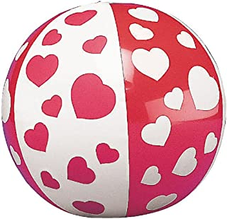 Mini Inflatable Heart Beach Balls (12 Pack) Inflated,  Approx. 5; Deflated,  7.