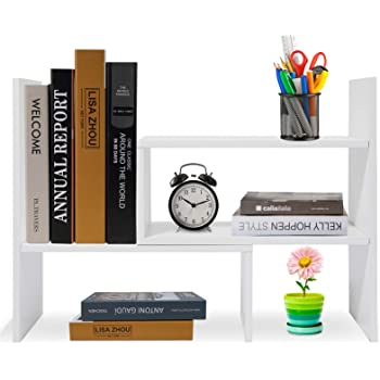 Hossejoy Wood Adjustable Desktop Storage Organizer Display Shelf Rack, Office Supplies Desk Organizer,White