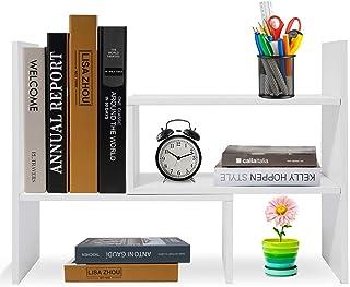 Best Hossejoy Wood Adjustable Desktop Storage Organizer Display Shelf Rack, Office Supplies Desk Organizer,White Review