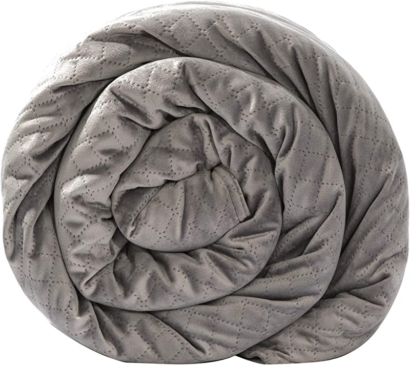 BlanQuil Quilted Weighted Blanket W Removable Cover Grey 20lb