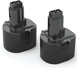 PWR+ 2 Pack Compatible DEWALT DW9061 DW9062 XR 9.6-Volt Battery Pack: Real Capacity Replacement for Black & Decker PS120 Fire Storm Power Tool dc750ka dw9104 dw911 dw926 dw926k 2 dw952 9.6V 2Ah