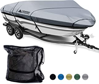 Leader Accessories 600D Waterproof Trailerable Runabout Boat Cover Fit V-Hull Tri-Hull Fishing Ski Pro-Style Bass Boats, Full Size (Renewed)