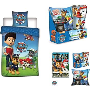 Couleur Bleu 180x260cm Lits 90 and 105 Nickelodeon Couette Paw Patrol