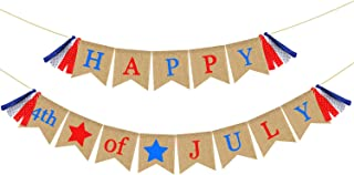 Patriotic Banner Burlap - Happy 4th of July Banner Bunting - Rustic Fourth of July Decorations - Independence Day Decorations Mantel Fireplace Wall Hanging Decor