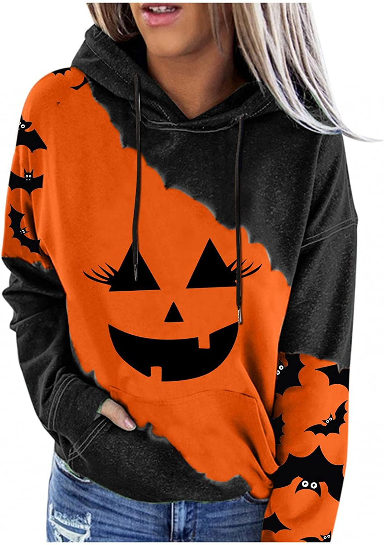 Jaqqra Halloween Hoodies for Women Bat Pumpkin Graphic Drawstring Sweatshirts Long Sleeve Shirts Hooded Pullover Tops